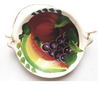 Adorno Plato 1 Pared Cocina Frutas Blanco Barro Artesanía