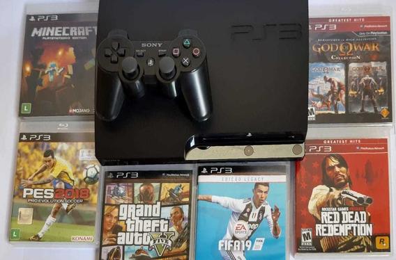 Playstation 3 + Controle, Gta 5 , Pes , Fifa 19
