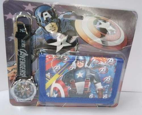Relógio + Carteira Infantil Capitão America