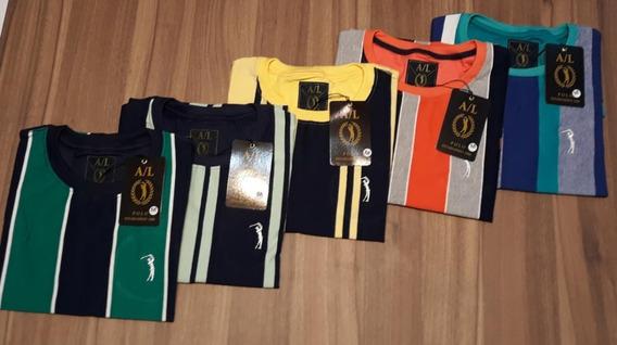 Kit 3 Camisas Listradas Básicas A/l Pólo