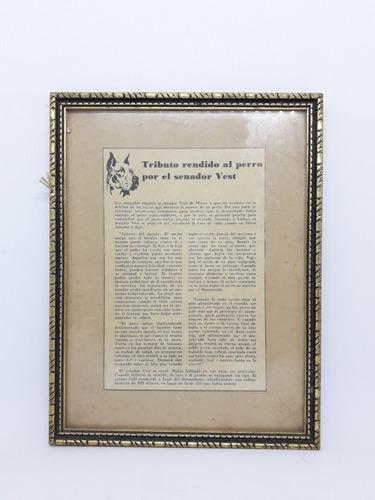 Yh Noticia 1869 Tributo Al Perro Senador Vest Cuadro Nota En