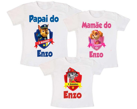 Kit 3 Camisetas Patrulha Canina Aniversário + Frete Grátis