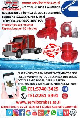 Bomba De Agua Automotriz Cummins Isx,qsx Turbo Guatemala
