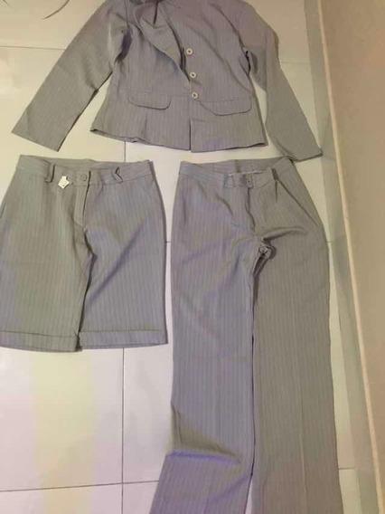 Conjunto Risca Giz Blazer Calça E Bermuda