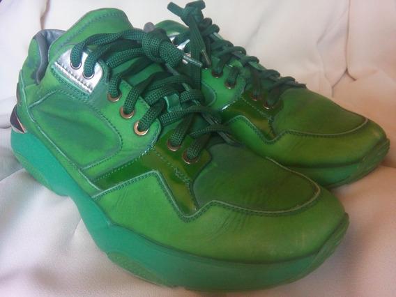 Sneakers Salvatore Ferragamo Originales Lisbona Verdes Piel