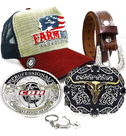 Conjunto Cinto De Couro 3 Fivelas Country Farm + Boné Texas