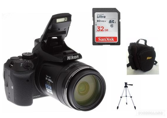Câmera Nikon Coolpix P900+32gb+bolsa+tripé