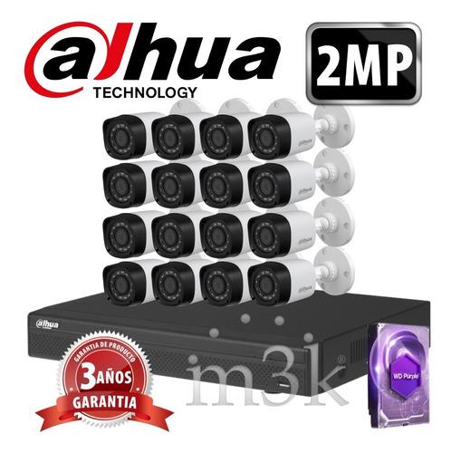 Kit Seguridad Dahua Full Hd Dvr 16 + Disco 1 Tb Instalado + 16 Camaras 2mp 1080p Exterior Infrarrojas + Ip M3k