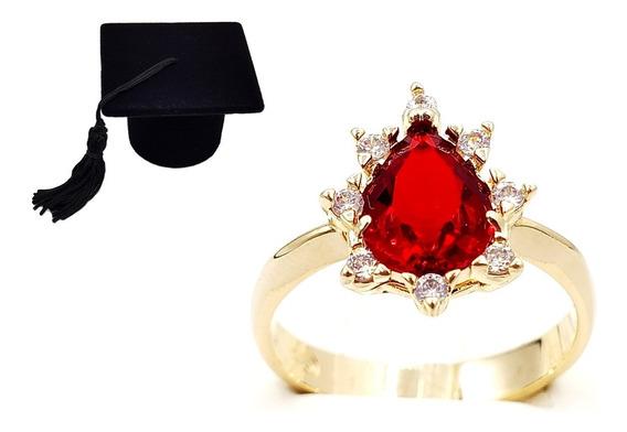 Anel De Formatura Pedra Vermelha Joia Folheada + Cx Capelo
