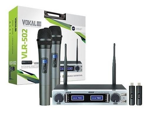 Microfone S/ Fio Vokal Vlr-502 Duplo Mao/mao