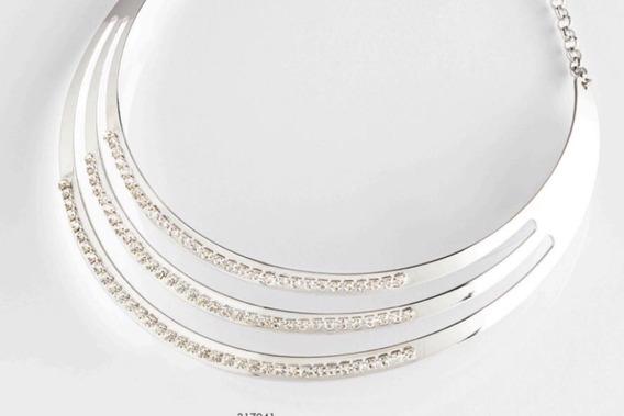 Gargantilla Con Diamantes, Plateada, De Rodio Calidad Nice