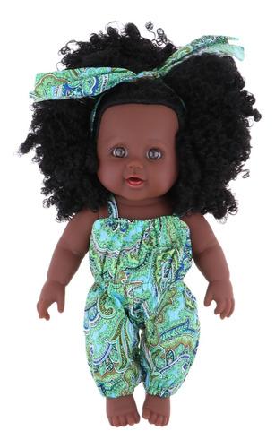 Imagen 1 de 3 de Muñeca De 30cm Muñeca Afroamericana Muñeca Realista De
