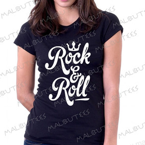 3d06f514ab Baby Look Camiseta Rock E Roll Personalizado Blusa Feminina