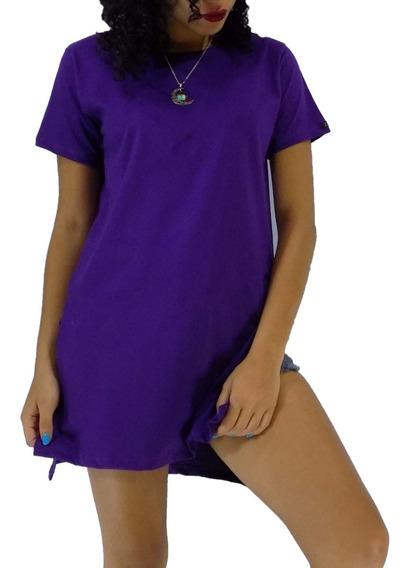 Blusa Feminina Moda Longline Cinza Mesclado Camiseta T-shirt