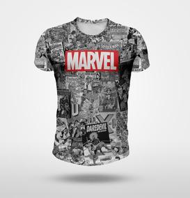 Remera Marvel Historietas Blanco Y Negro Full Print