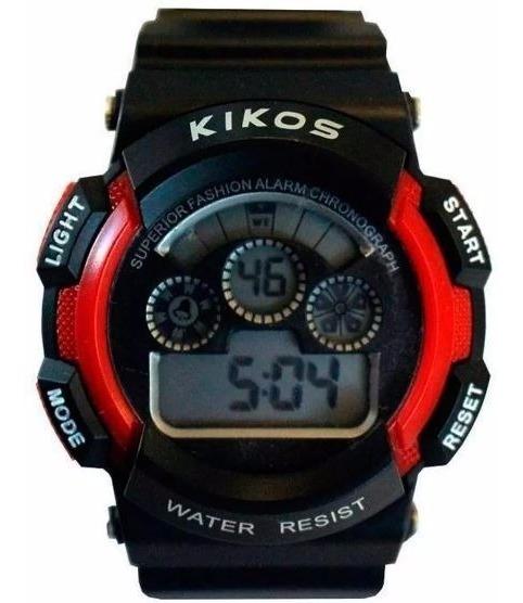 Relógio Digital Unissex Kikos Original Vermelho Sport Lindo!