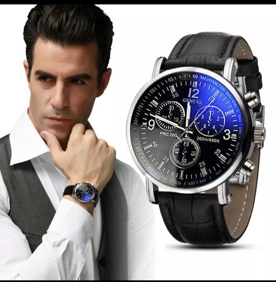 Relógio Masculino Clássico Pulseira De Couro Social Quartzo