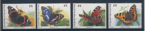 Estampillas Belgica 1993 Mariposas 4 Valores Mint