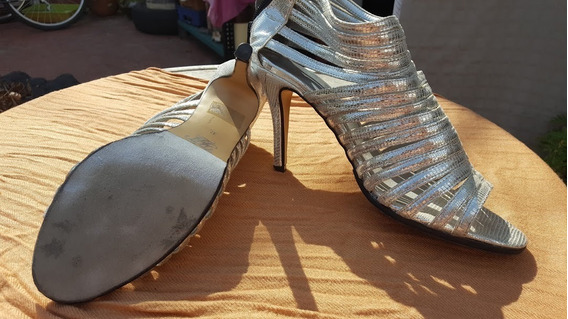 Zapatos Taco Cuero Plateados 40 Suela Gamuza Para Bailar