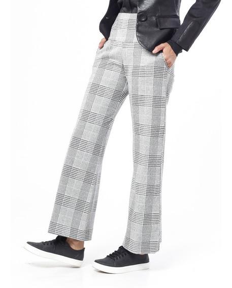 Pantalón Pata Ancha Príncipe De Gales Elastizado Giacca