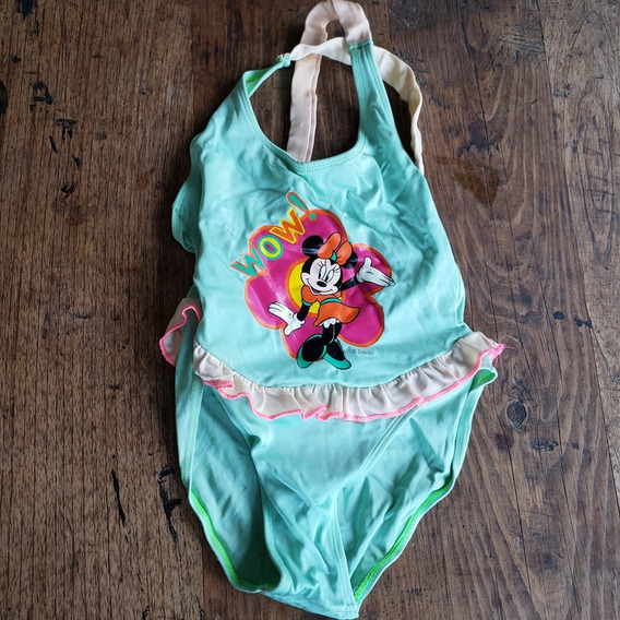 Lindo Traje De Baño De Disney Verde Minnie Mouse