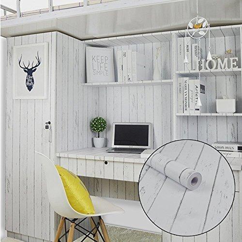 Simplelife4u White Wood Grain Contact Paper Estilo Nordico
