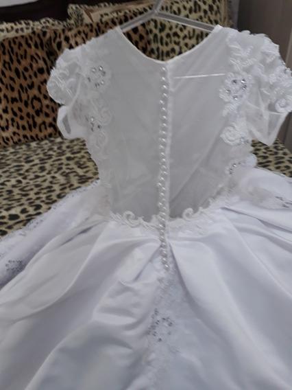 Vestido De Dama Luxo! Tamanho 3/4 Anos. Todo Bordado A Mão!