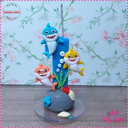 Imagem 1 de 2 de Personalizado Biscuit Aniversario Vela Tubarão Azul