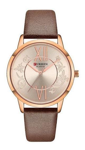 Relógio Curren Feminino De Pulso Mod C9049l - Rose E Marrom