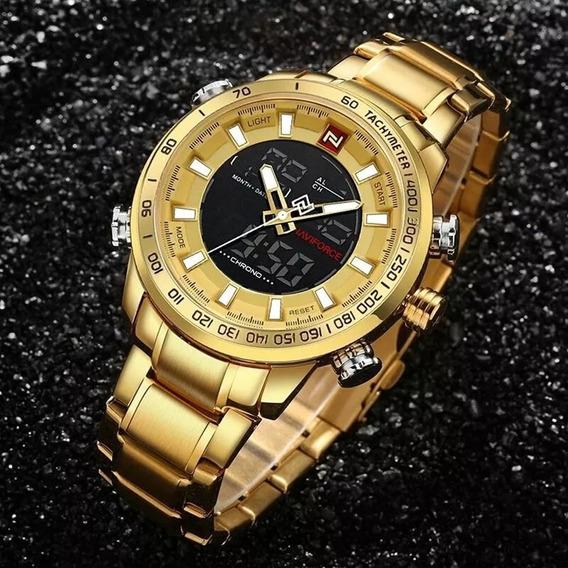 Relógio Masculino Naviforce Dourado 9093 Luxo Coleção