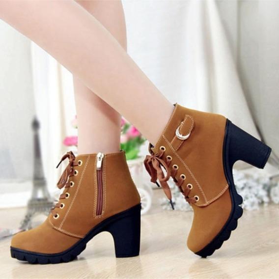 Bota Sapato De Couro Feminina Salto Alto Importado