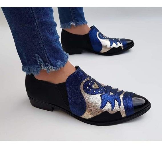 Botineta Zapatos Bajos De Vestir En Punta Combinados