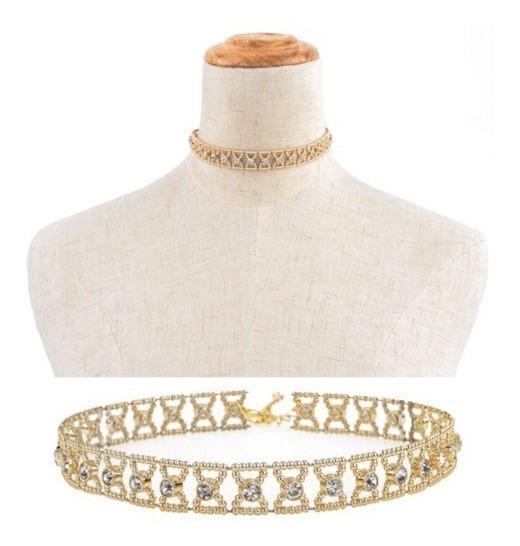 Colar Cordao Gargantilha Dourada Coleira Strass Fashion