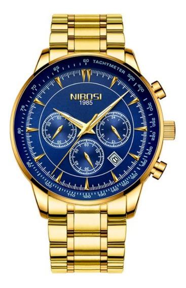 Relógio Masculino Dourado Azul Nibosi 2351 Luxo Prova Dagua