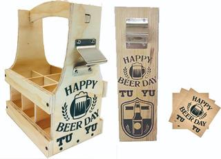 Kit Huacal Porta Cervezas, Destapador Y Porta Vasos