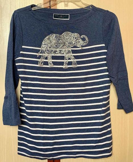 Blusa Camisa Karen Scott 100% Algodão Listrada Elefante