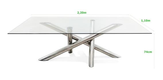 Mesa De Jantar Com Base Inox Tubular + Vidro 10mm