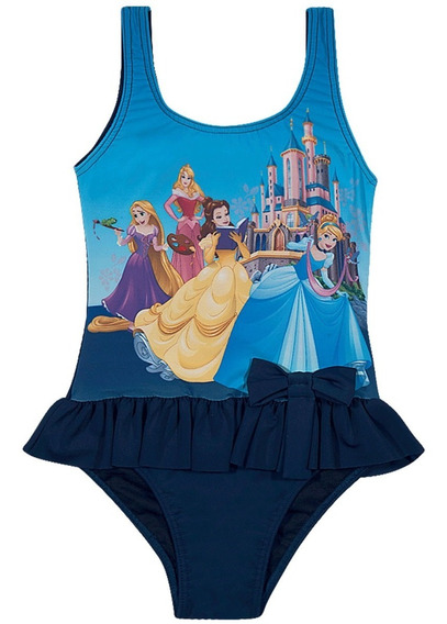 Maiô Infantil Princesas Disney Azul Marinho Com Babadinhos