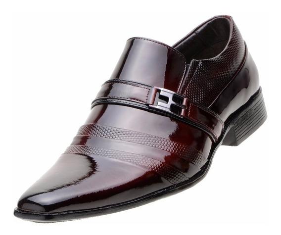 Sapato Social Masculino Couro Verniz Italiano Envernizado