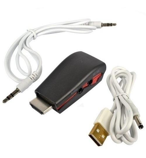 Adaptador Hdmi X Vga + Cabo Áudio 1080p Para Pc Tv Xbox 360