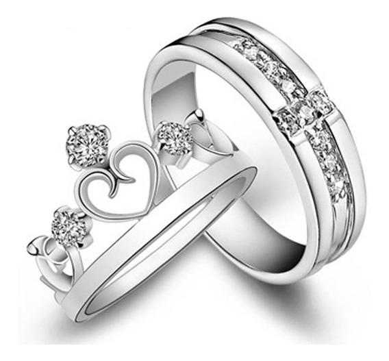 Par De Alianças Banhadas Prata Coroa Pedras Ajustável Lindas Feminina Masculina C331
