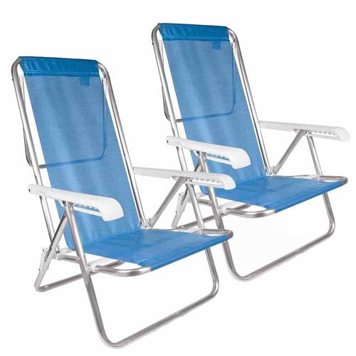 Cadeira De Praia Alumínio Reclinável Mor Azul 2 Unidades
