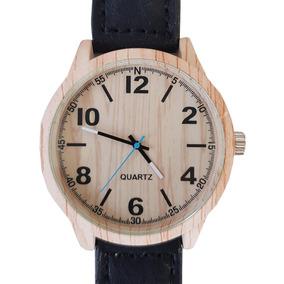 Relógio Masculino Amadeirado Marrom Com Correia Couro Luxo