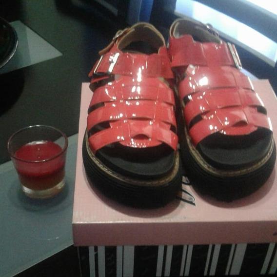 Sandalias Color Rojas Charoladas Muy Comodas
