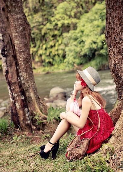 Abaixou!!vestido Crochê Branco / Vermelho. Importado.