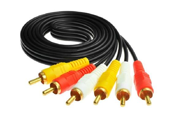 Cable 3rca Audio Y Video 1.5metros Dorado Dvd Directv Bolsa