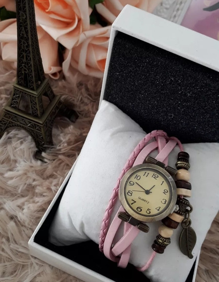 Relógio Pulseira Couro Feminino Com Pingente Vintage Kit 10