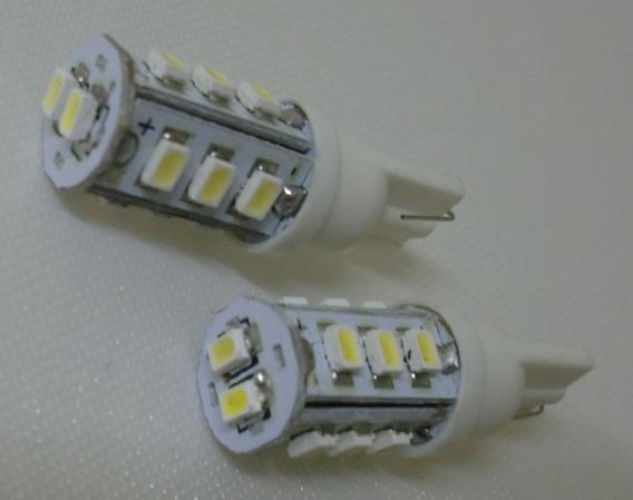 02 Lampadas Led Automotiva Cor Branco Soquete T10 14 Leds