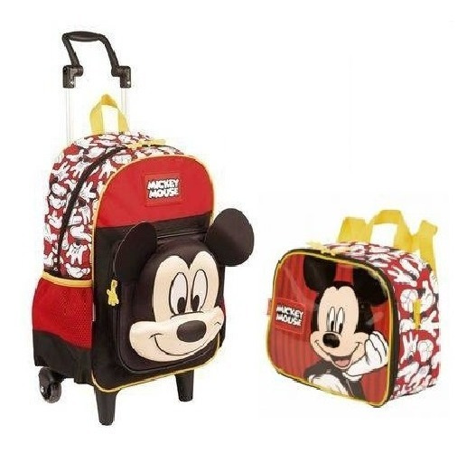 Mochila Mickey Mouse Alto Relevo Escolar Infantil Rodinhas 19y Tam G Lancheira Especial Sestini
