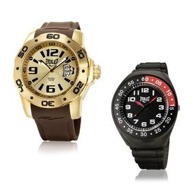 Relógio Everlast Masculino Analógico E530 Dourado Marrom